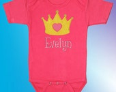 Princess Crown on Pink Bodysuit Shirt - Personalized Embroidered Applique