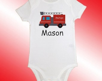 Baby Shirt Bodysuit - Personalized Applique - Fire Truck - Embroidered Short or Long Sleeved