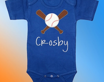 Baseball and Bats on Blue Bodysuit Shirt - Personalized Embroidered Applique