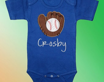 Baseball and Mitt on Blue Bodysuit Shirt - Personalized Embroidered Applique