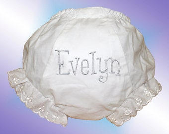 Baby Bloomers - Personalized Embroidered - White Whimsical Monogram