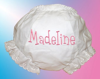 Baby Bloomers - Personalized Embroidered - Pink Whimsical Monogram