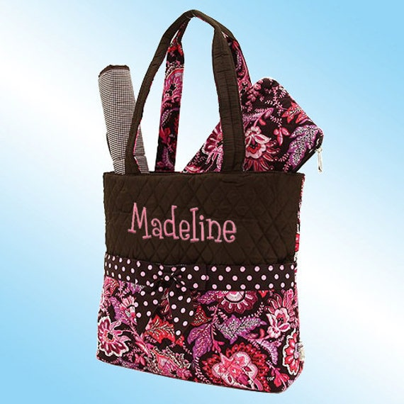 Diaper Bag - 3 Piece Personalized Set - Quilted Brown with Pink Floral Pattern and Pink Polka Dots