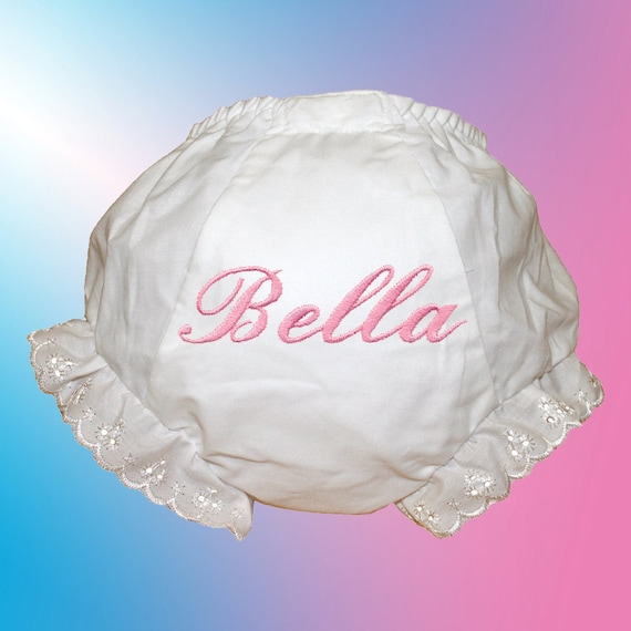 Baby Bloomers - Personalized Embroidered - Pink Script Monogram