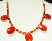 AGATE CARNELIAN NECKLACE - Faceted Agate Briolettes and Carnelian Oval beads on Gold Plated Chain