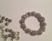 BLING BLING Silver Color Beaded Stretch Bracelet With Rhinestone Spacers