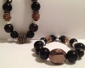 ELEGANT CUSTOM Black And Brown Beaded Necklace and Stretch Bracelet Set
