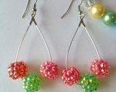 DANGLING CUSTOM Pink and Green Resin Beaded Bubblegum Drop Earrings
