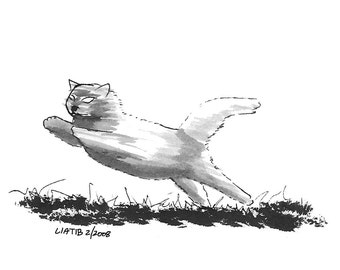 Jumping kitten sketch , black and white A5 illustration print on paper great for animal lovers or cat lovers new home decor gift for teens