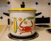 Mid-Century Enamel Crab Stock Pot