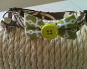 Cat bow collar green brown