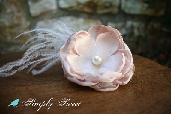 Vintage Inspired Taupe and Ivory Flower Hairclip with Feathers