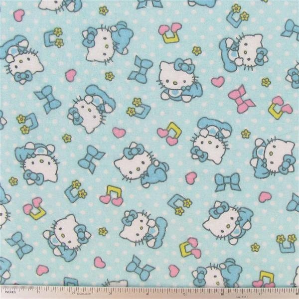 1 yard of hello kitty baby music flannel fabric for Cute baby fabric prints