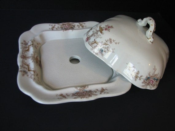 Charming  Hanley J & G Meaking Butter Cheese Dish 1890 Semi Porcelain AKA Ironstone Antique