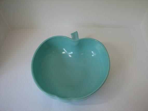 Hazel Atlas Aqua Blue Platonite Apple Serving Bowl