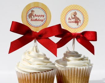 CURIOUS GEORGE Birthday Cupcake Toppers Printable