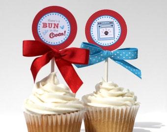 BUN In The OVEN Baby Shower Cupcake Toppers Printable