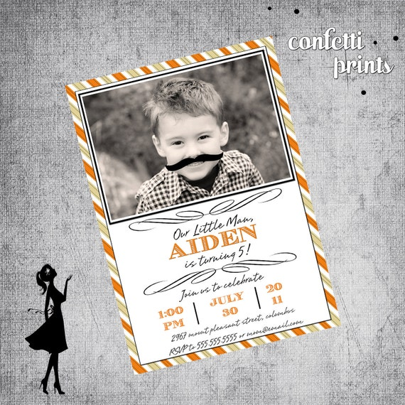 Birthday Invitation / Photo Card - LITTLE MAN Printable