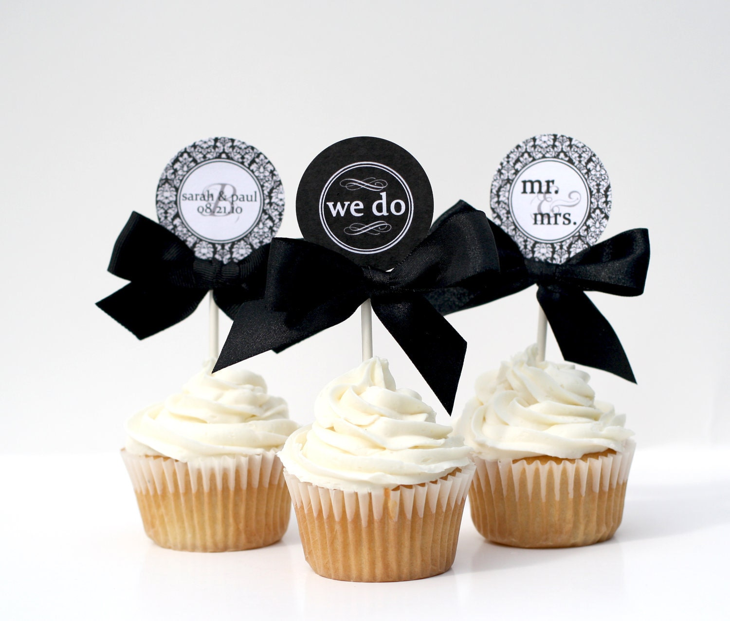 Cupcake Ideas For Wedding: Wedding / Bridal Shower Cupcake Toppers WE By
