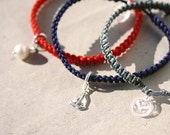 Nautical customizable bracelet, choose your sterling silver charm - Anchor, Sailboat, Waterdrop or Sweet Water Pearl