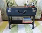 Handmade Black Vintage Trunk Suitcase Coffee Table with Storage Shelf