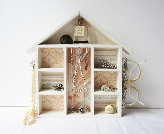 House Shaped Jewelry Holder Display Organizer Shelf with Peach, Blush, Pink Vintage Wallpaper