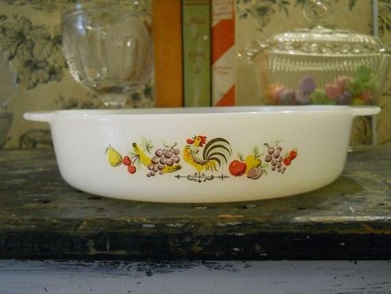 "Anchor Hocking Fire King 8"" Round Baking Dish - Chanticleer Pattern"