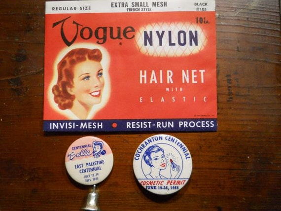Vogue Hair Net in Original Package, Centennial Belle Pin and Cosmetic Permit Pin