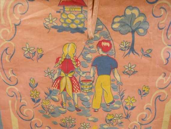 Child's Pink Striped Laundry Bag With Jack and Jill Illustrations