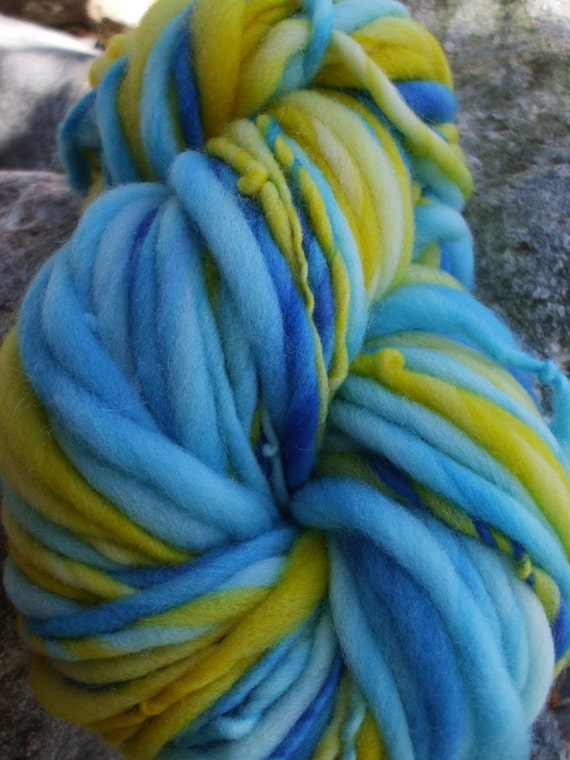 Handspun yarn - Sale yarn - handpainted super wash wool - thick and thin - 3.2 oz. - 73 yards