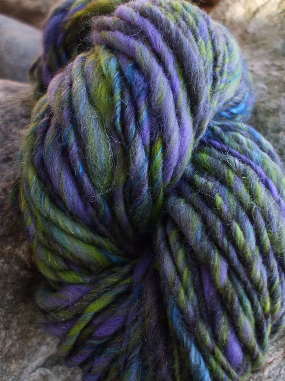 Spring sale - Handspun yarn - handpainted, carded wool and silk - thick and thin - 3.2 oz. - 80 yards