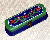 Wooden pencil box - paint box hand painted, blue, green with flowers, tulip