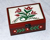 Hand Painted Wooden Brown Ring Box Folk Style with Flowers Motif