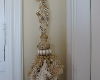 Drapery Tie-Backs, HUGE Fancy Cream/Gold Tassles with thick Cord, Set of 6
