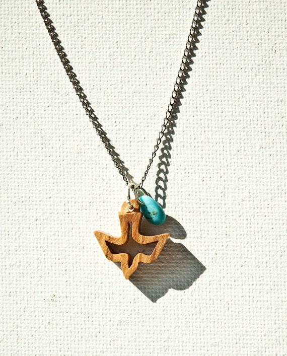 Vintage Wooden Dove Necklace
