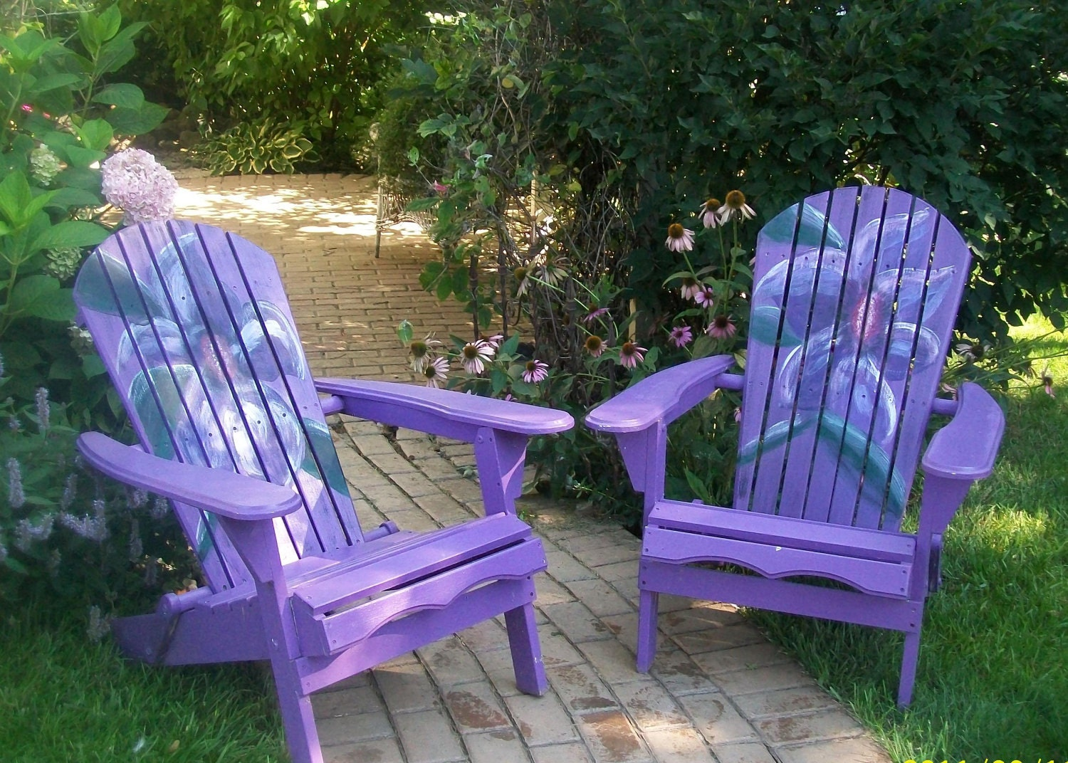 Bright fun hand painted adirondack chairs - Garden furniture colours ...