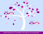 Custom Order for Marleen Nelemans - Kids Removable Wall Decals - Four Owls Sitting on Tree Branch  - Girls Nursery Decal