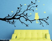 Removable Vinyl Wall Decal - Cat Sitting on a Branch Watching Birds Fly