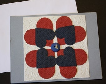 Quilt square handmade greeting card size A2 w/ envelope red white and blue blank inside