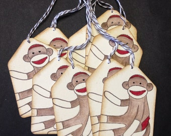 Sock monkey tags set of 10 w/ bakers twine blank back