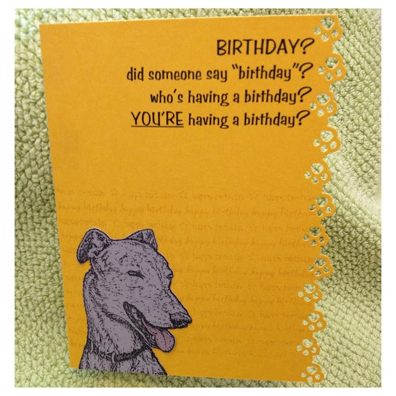 Items Similar To Handmade Birthday Card W/ Greyhound Wish The Greyhound / Whippet / Dog Lover In