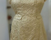 Dazzling gold lurex textured brocade 1960's cocktail dress