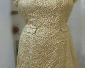 Dazzling gold lurex textured brocade 1960's cocktail dress