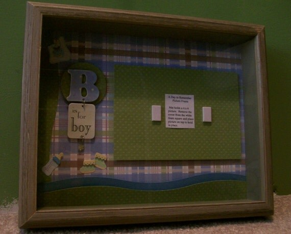 Baby Boy Shadow Box - It's A Boy Scrapbook Page - Boy's Room Decor - Baby Boy Nursery Decor