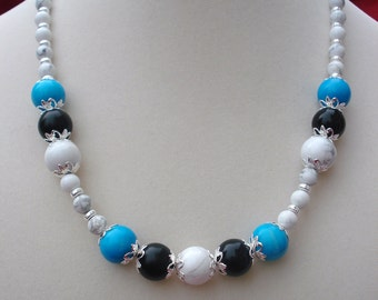 Blue Howlite, Black Obsidian and White Howlite Necklace (No.76).