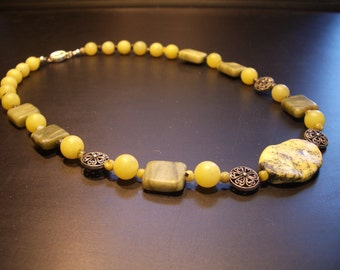Jade and Yellow Turquoise  Necklace ( No.16 )