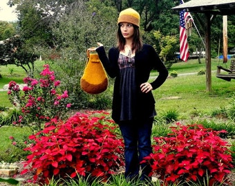 Organic~Felted Purse~Felted Hat~Matching hat and purse ~Felted Bag~ Hand knit & felted accessory