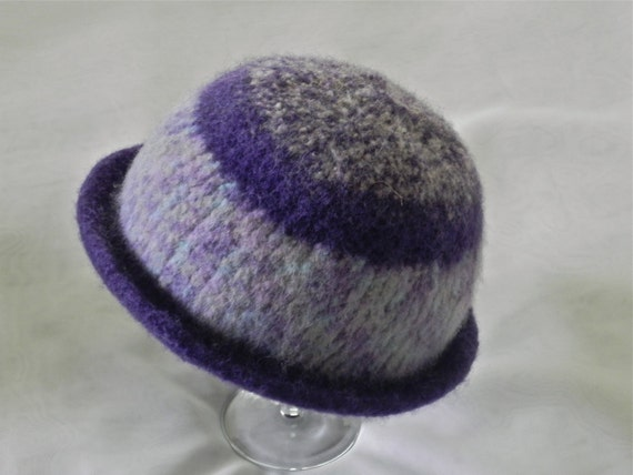 Hand knitted felted hat