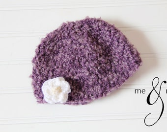purple fuzzy baby hat photography prop