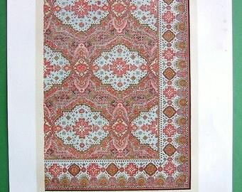 ORNAMENTAL PATTERNS of Wilton Pile Carpet  -  1862 London Exposition Color Antique Print